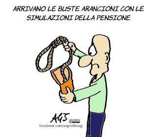 pensioni, buste arancio, lavoro, inps, previdenza, satira, vignetta