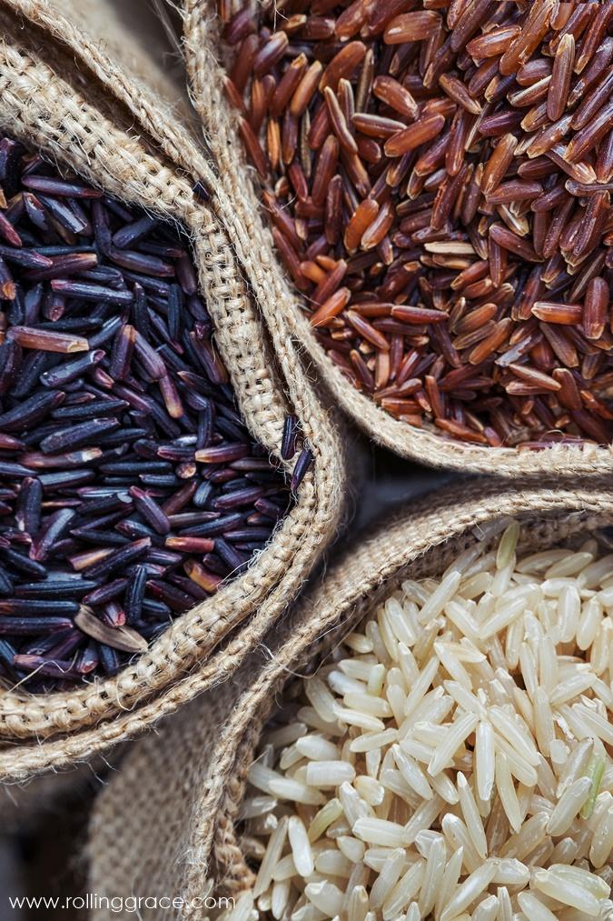 Brown, red or black rice