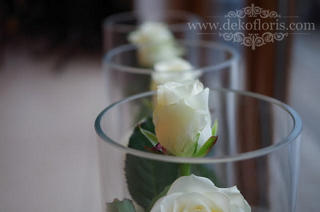 Wesele w Opolu - dekoracje z białych róż - Dekofloris