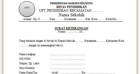 Contoh Surat Keterangan Siswa Aktif Dari Kepala Sekolah