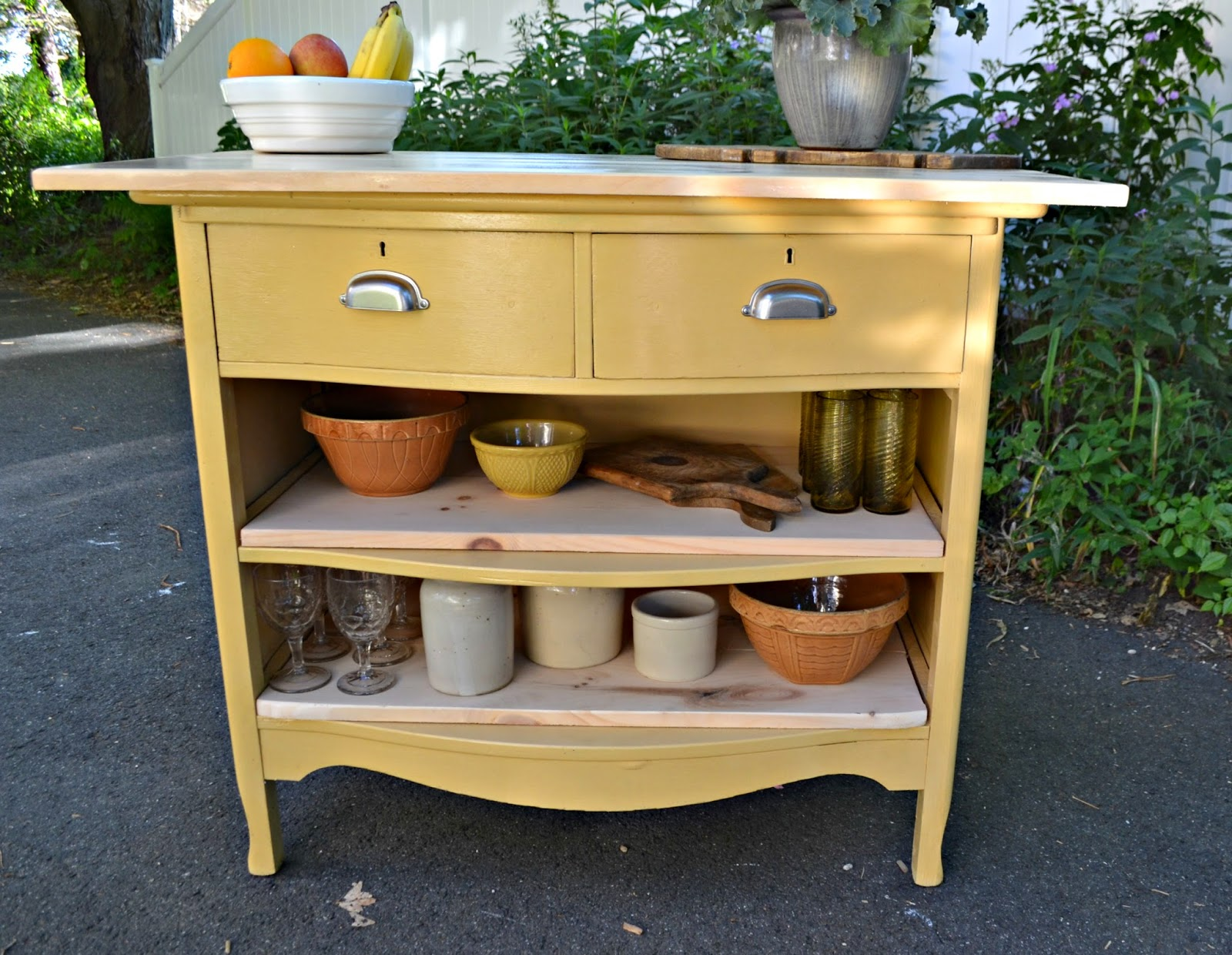 kitchen island made from dresser heir and space antique dresser turned kitchen island 8197