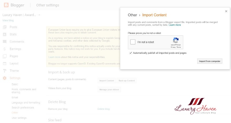 blogger tips how to import blog content