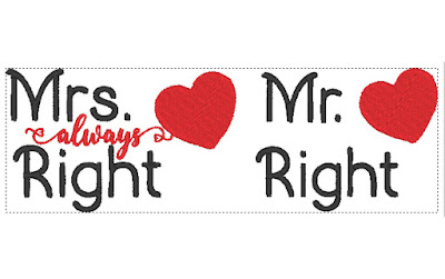 Mr Right e Mrs Always right - Matriz de bordado 0fcb5a5a438