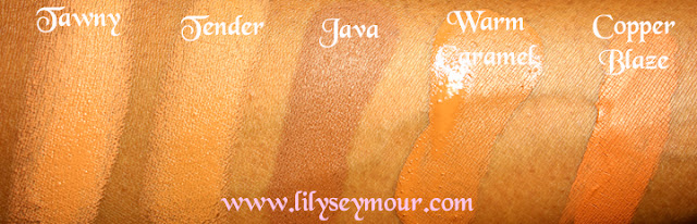 Fashion Fair Tawny, Tender, Java, Warm Caramel, Copper Blaze