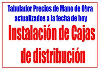 Instalación de cajas de distribucion precios de mano de obra