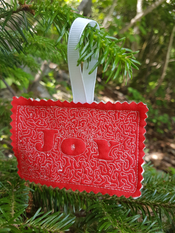 Joy free motion quilted ornament | DevotedQuilter.blogspot.com