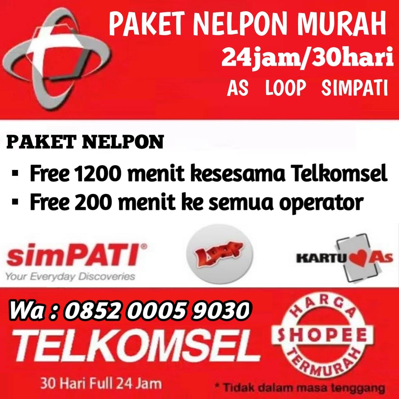 Paket Nelpon Telkomsel Perbulan As Simpati Loop 1400 Menit Grapari Kartu Paketan 9gb