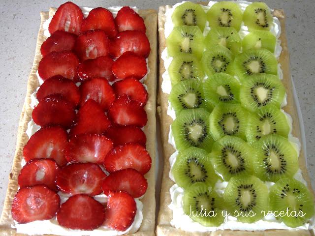 Tarta de kiwis y fresas. Julia y sus recetas