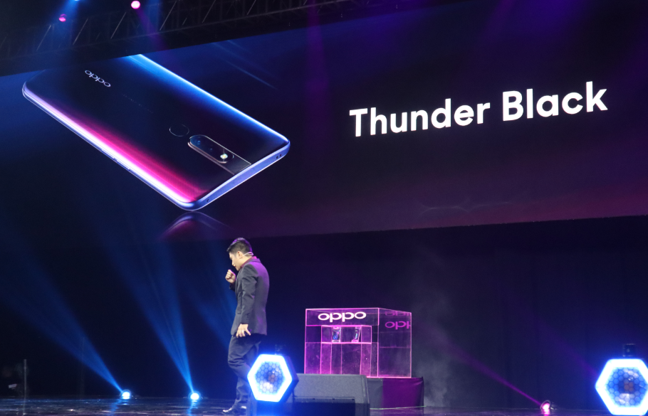 OPPO F11 Pro's Thunder Black finish blends red and blue into classic black
