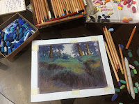 Step 3 Soft pastel painting of Kalatop Wildlife Sanctuary by Manju Panchal
