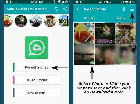 Cara simpan foto dan video story Whatsapp kekiniandengan story' saver for whatsapp