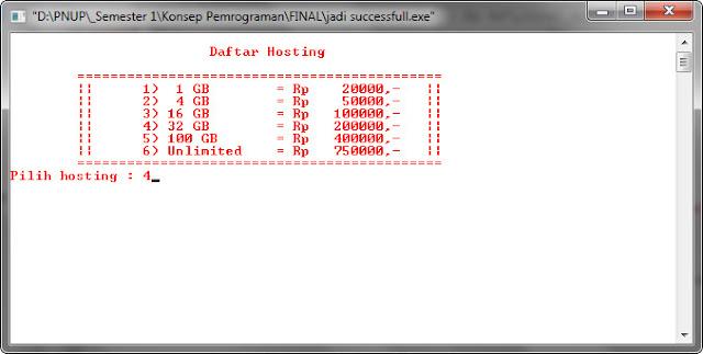 Pemrograman bahasa C : program kasir pembelian domain hosting