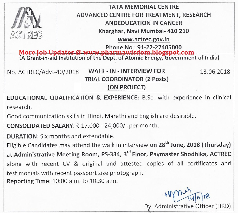 JRF 2019 for Ph.D Position in Tata Memorial Centre, Mumbai ...