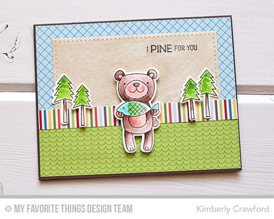 I Pine for You Card by Kimberly Crawford featuring the Warm & Fuzzy Friends Card Kit and the Cross-Stitch Rectangle STAX Die-namics #mftstamps