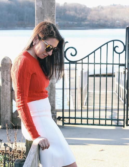White Sweater Skirt Valentines Day