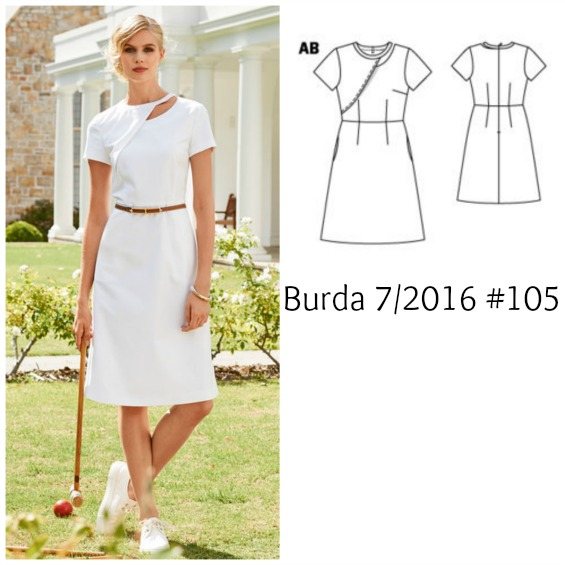 Burda 7/2016 #105 cut out dress www.loweryourpresserfoot.blogspot.com