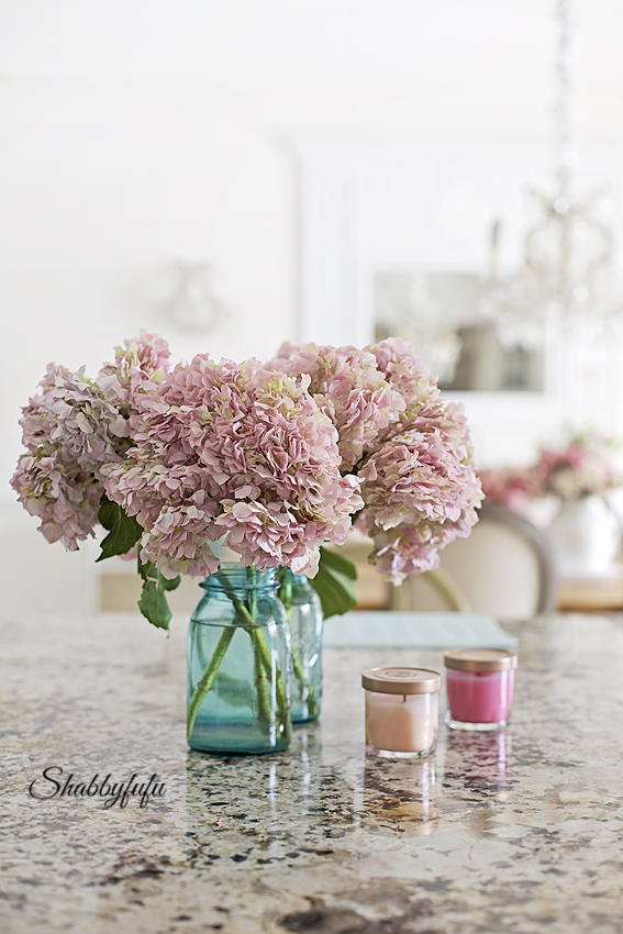 pink hydrangeas in mason jars