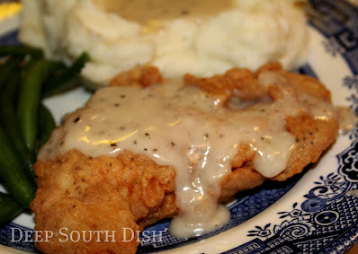 Similar to our beloved southern fried chicken, a boneless, skinless chicken breast is pounded thin, dredged in flour and fried. Served with a drizzle of creamy milk gravy made from some of the pan drippings, it is truly good ole comfort food.