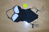 Rückseite: Gigileer Damen Badeanzüge Bandeau Push Up Schwimmanzug Monokini one Piece -Schwarz