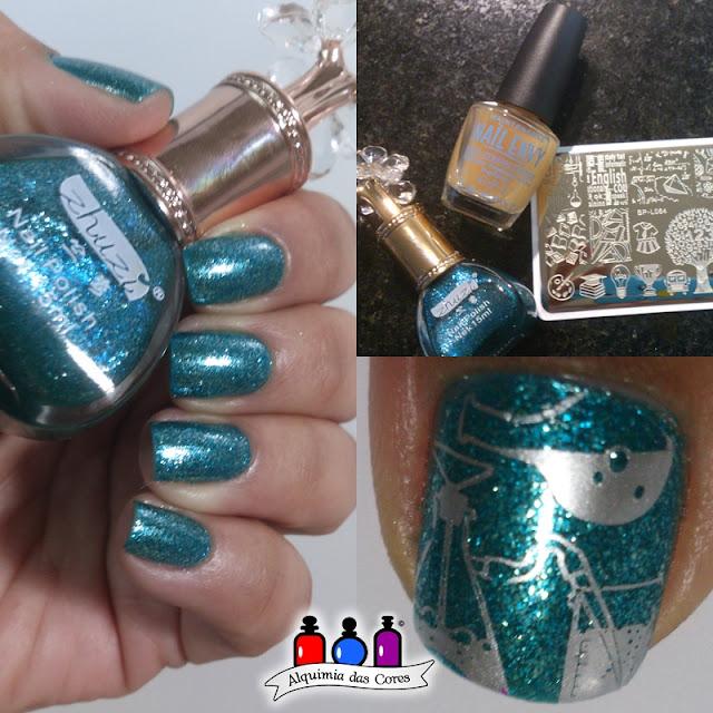Zhuzi nail polish, esmalte teal, metálico, Frankenstein, Odisseia Esmaltada