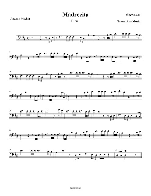 "PARTITURA ""MADRECITA"" de ANTONIO MACHÍN - TUBA - sheet music for tuba"