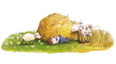 Kinderbuchillustration, Schäfchen, kleiner Stier, schlafender Junge