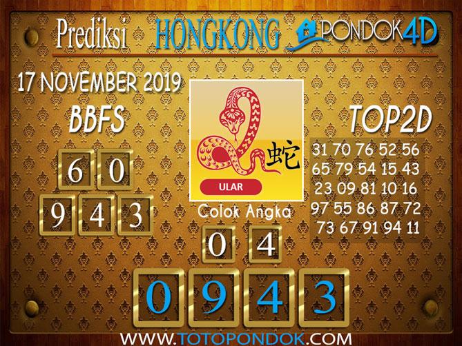 Prediksi Togel HONGKONG PONDOK4D 17 NOVEMBER 2019