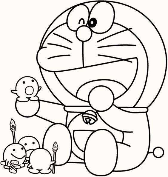 Tranh cho bé tô màu Doraemon đang chơi