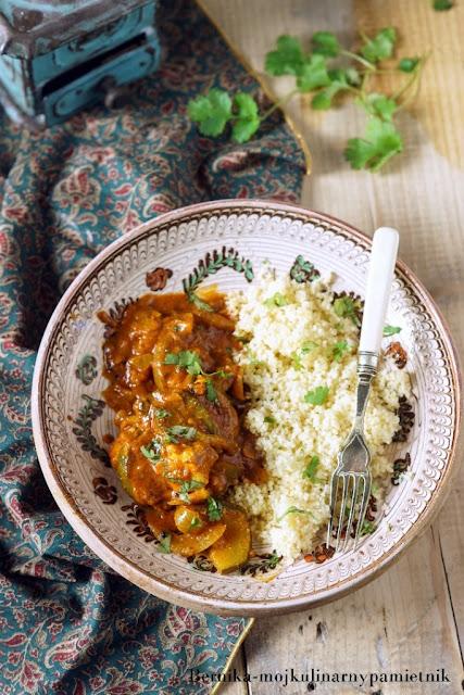 kurczak, curry, indie, cukinia, obiad, bernika, kulinarny pamietnik