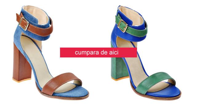 Sandale din piele intoarsa cu toc gros inalt elegante de zi albastre