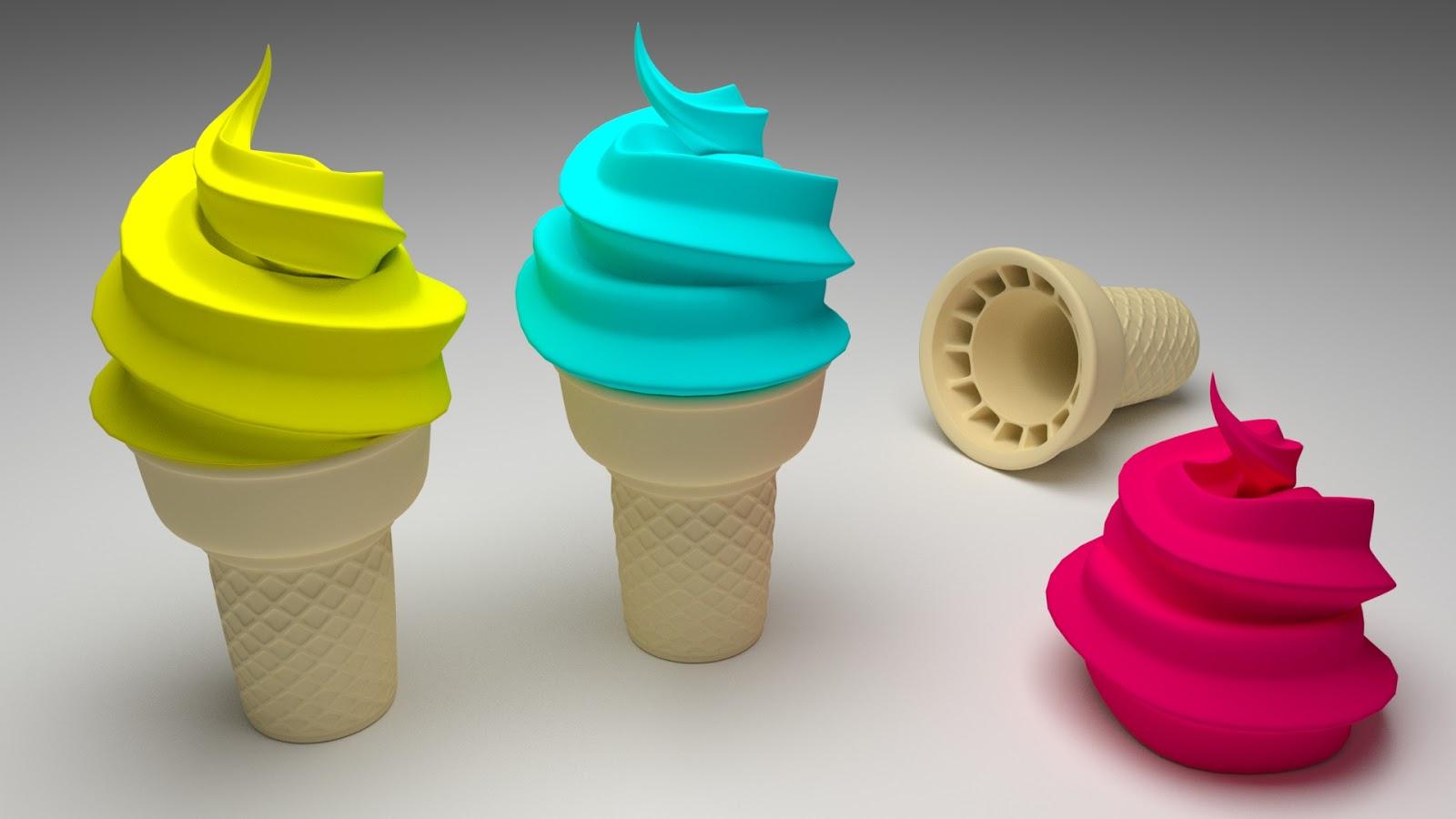 Free 3D Ice Cream Cone Cup .blend file