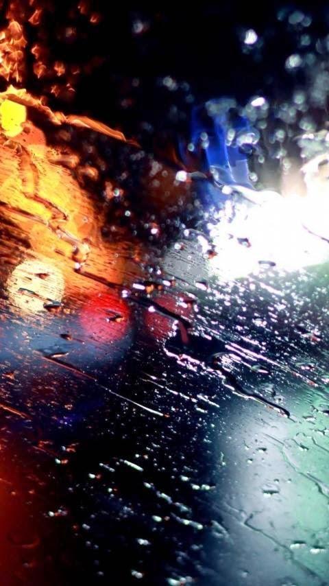 خلفية أمطار على الزجاج للأندرويد