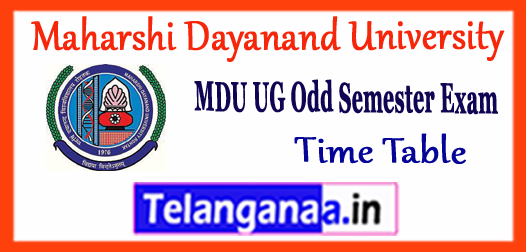 MDU Maharshi Dayanand University BA B.Sc B.Com BBA BCA 1st 3rd 5th semester Time Table 2017-18 Click Here