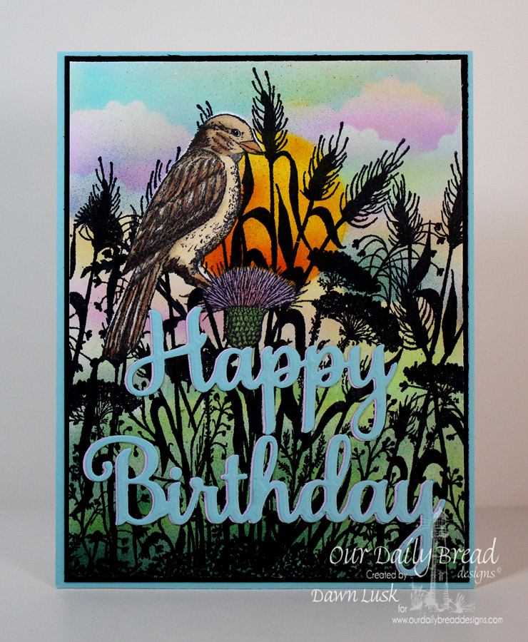 Stamps - Our Daily Bread Designs Wildflower Silhouette Background, He Watches Me, ODBD Custom Happy Birthday Die