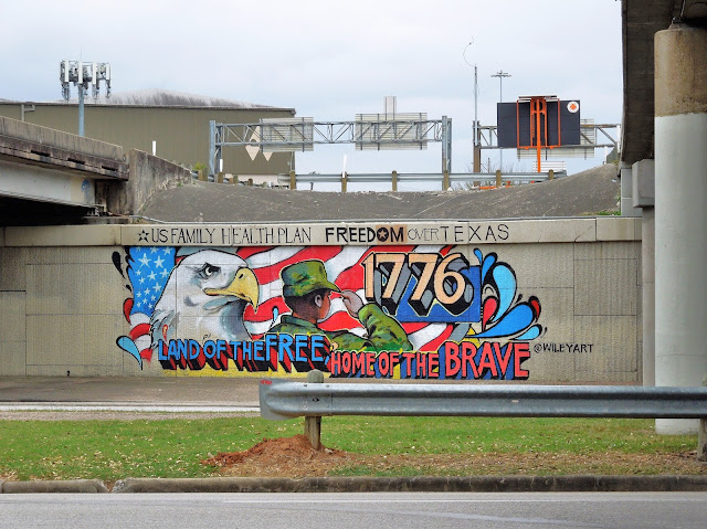 Freedom over Texas Mural on Allen Parkway at Gulf Freeway overpasses