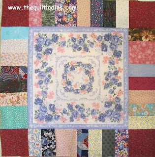 pieced block for hankie quilt