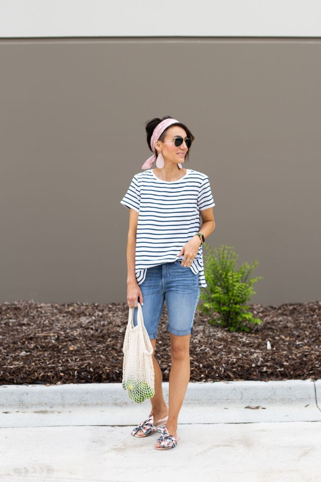 N&S Style Files - Pink Desert Leather Earrings, Striped Tee and Shorts