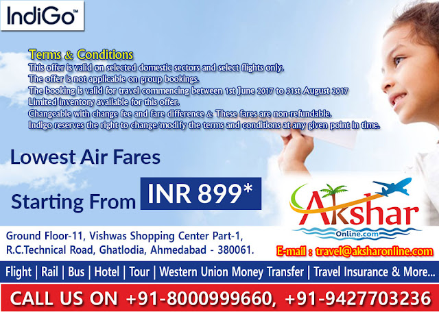 Indigo Airfare sale, domestic airline, air ticket booking agent, money transfer agent, airline sale, booking ticket sale, airline sale, hotel booking and more..., akshar infocom, aksharonline.com, +919427703236, +918000999660