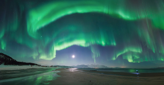 Aurora over Steinsvik Beach