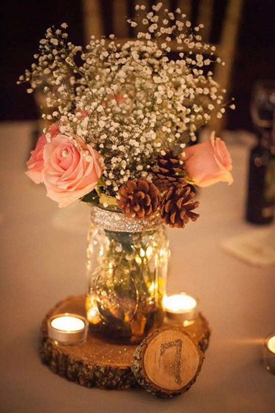 Stunning Rustic Mason Jar Centerpiece with Pine Cones