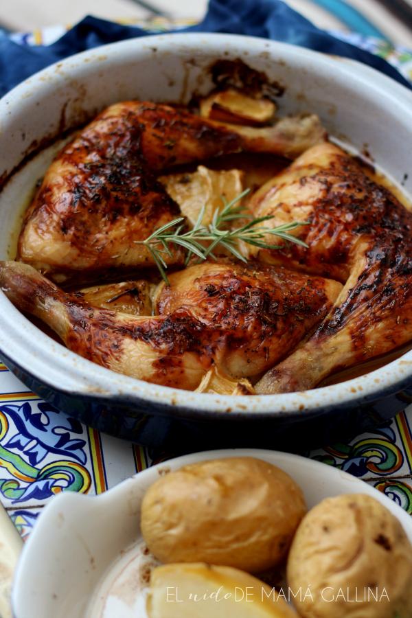 pollo asado con miel y limón