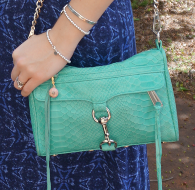 Rebecca Minkoff mini MAC with python embossed leather in aquamarine