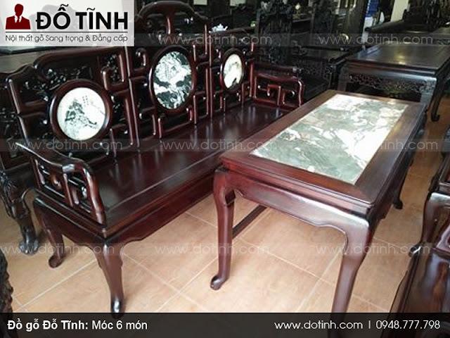 Bàn ghế gỗ móc 6 món làm bằng chất liệu gỗ gì?