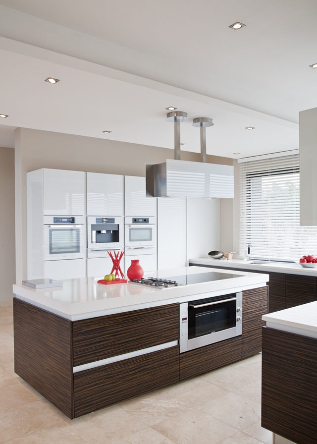 Picture of modern kitchen with brown and white furniture