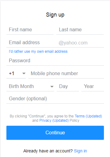 How to create new Yahoo mail account