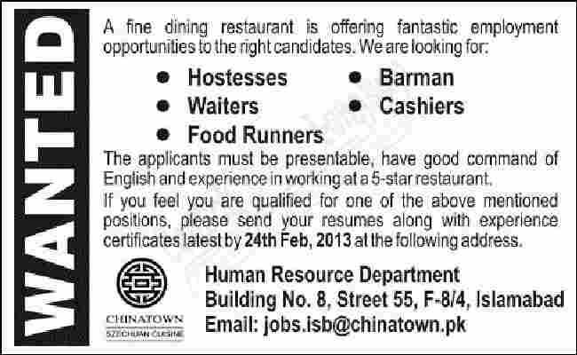 Iklan Lowongan Pekerjaan Dalam Bahasa Inggris SEBAGAI BARMAN, WAITERS, HOSTESSES, FOOD RUNNER DAN cashier