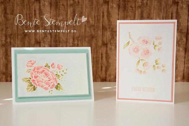 Stampin Up Geburtstagsblumen Aqua Painter Watercolor Blüte Blüten Frühling rosa Blumen