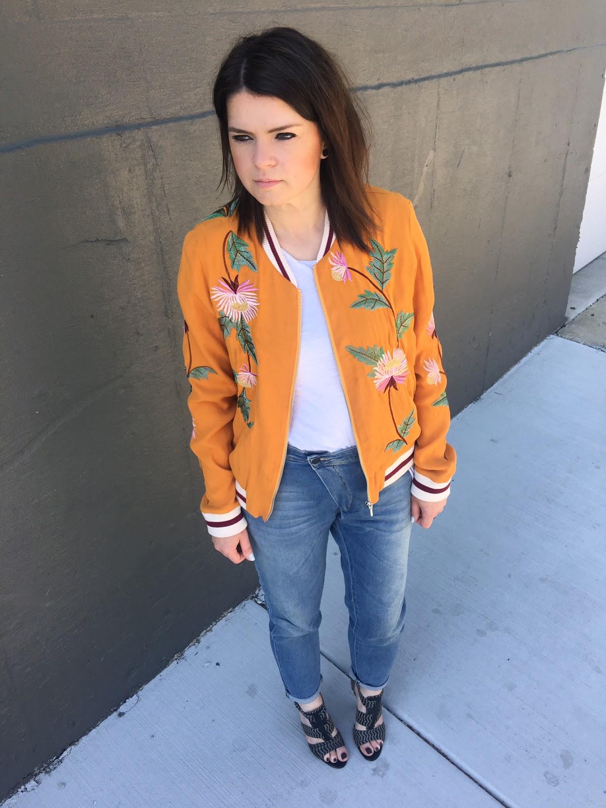 Orange, floral & embroidered