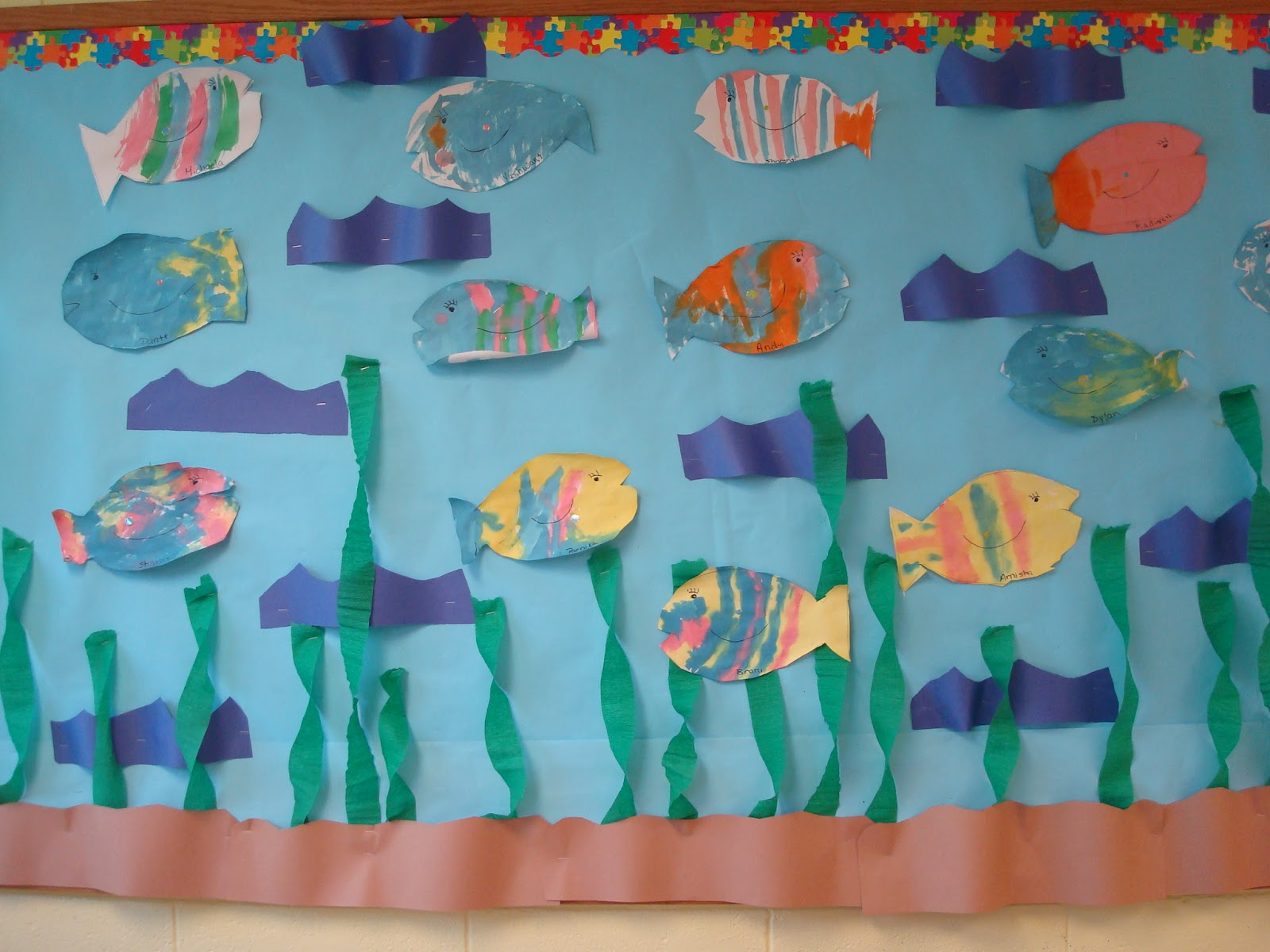 Trinity Preschool Mount Prospect Fish Bulletin Board Oak