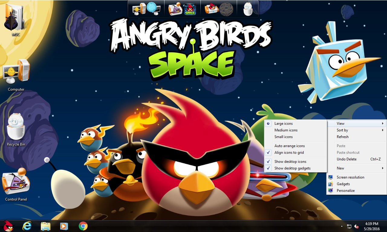 Angry Birds Space Transformation Pack for Windows 7